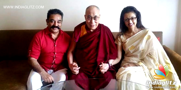 TIBET'S RIGHT TO SELF-PRESERVATION. HIS HOLINESS THE DALAI LAMA WITH ACTOR AND FILM PRODUCER KAMAL HAASAN, AND ACTRESS GAUTHAMI.
