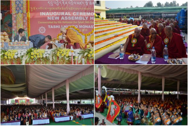 TIBETANS WILL GET BACK TIBET. TIBET IS ALWAYS TIBETAN. INAUGURAL CEREMONY OF NEW ASSEMBLY HALL AT TASHI LHUNPO MONASTERY, BYLAKUPPE, COORG, KARNATAKA, INDIA.