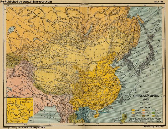 DOOMED HUMAN RIGHTS IN OCCUPIED TIBET - MAP OF QING CHINA EMPIRE 1910 A.D.